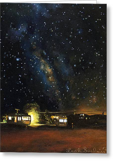 Nocturnal Paintings Greeting Cards - Los Rancheros RV Park Greeting Card by Leah Saulnier The Painting Maniac