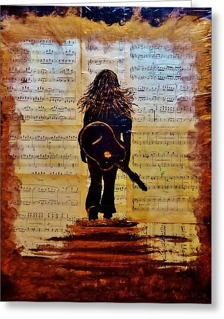 Metallic Sheets Paintings Greeting Cards - Lose Yourself in the Music Acrylic Painting Greeting Card by Linda Waidelich