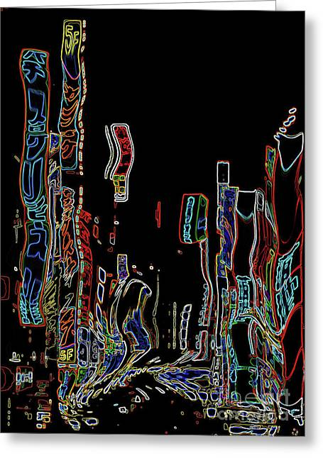 In The City Greeting Cards - Losing Equilibrium - Abstract Art Greeting Card by Carol Groenen