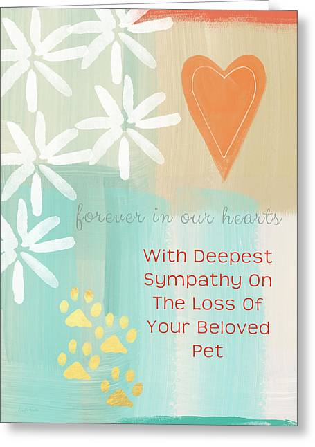 Dog Prints Mixed Media Greeting Cards - Loss of Beloved Pet Card Greeting Card by Linda Woods