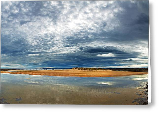 Ocean Panorama Greeting Cards - Lossiemouth pano Greeting Card by Jane Rix