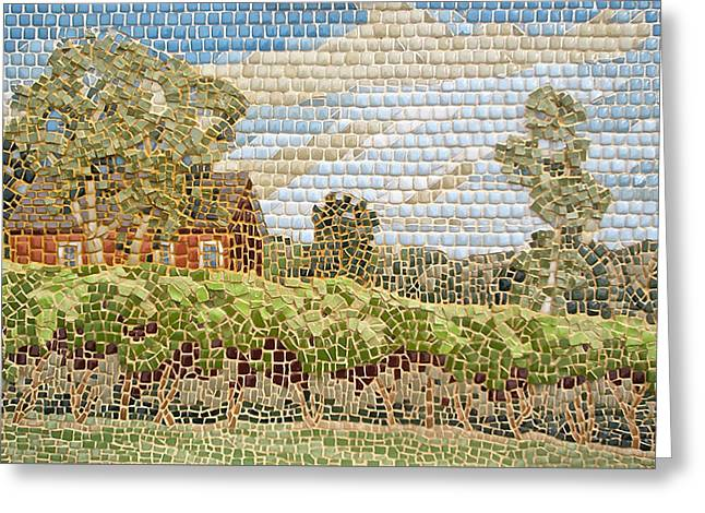 Grapevine Glass Greeting Cards - Lost Acres Vineyard Greeting Card by Teresa Tromp