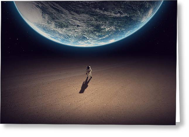 Planet Factory Greeting Cards - Lost Astronaut   Greeting Card by Nathan Clepper