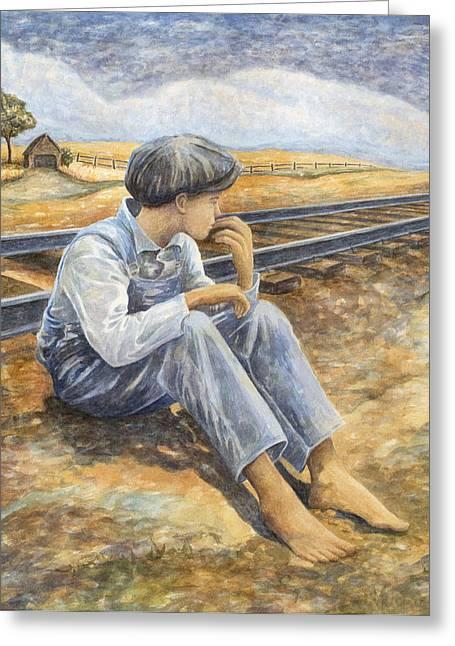 Sharecrop Greeting Cards - Lost Boy Greeting Card by Paula Blasius McHugh