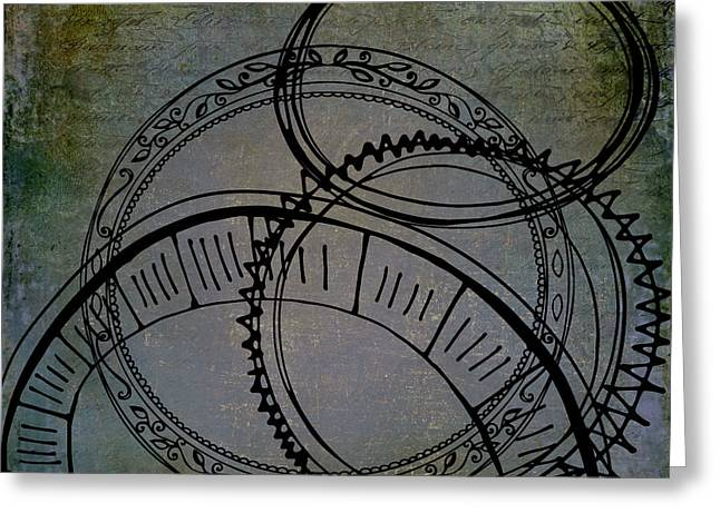 Abstract Movement Greeting Cards - Lost Circles of Conversation Greeting Card by Janice Rae Pariza