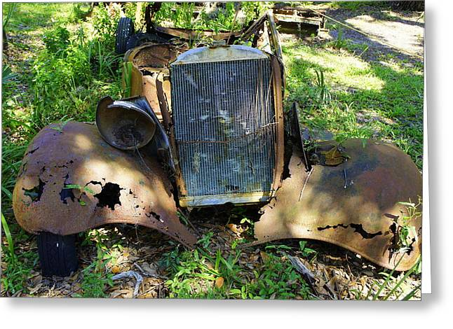 Rusted Cars Greeting Cards - Lost Cumberland Greeting Card by Laurie Perry