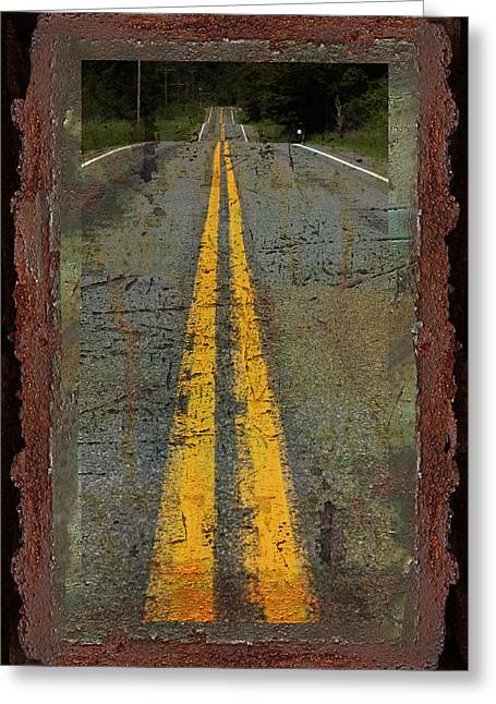 Double Yellow Lines Greeting Cards - The Road Goes On Forever Greeting Card by John Stephens