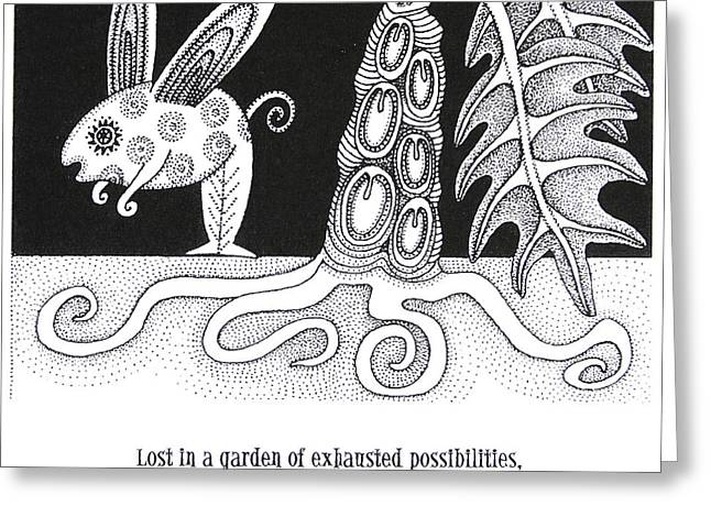 Roots And Wings Greeting Cards - Lost In A Garden Greeting Card by Linda Baker-Cimini