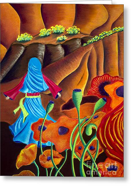 Optimistic Pastels Greeting Cards - Lost In Canyon Greeting Card by Terri Hamner