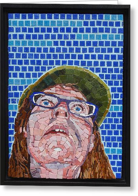 Self-portrait Glass Greeting Cards - Lost In Mosaic Land Greeting Card by Gila Rayberg