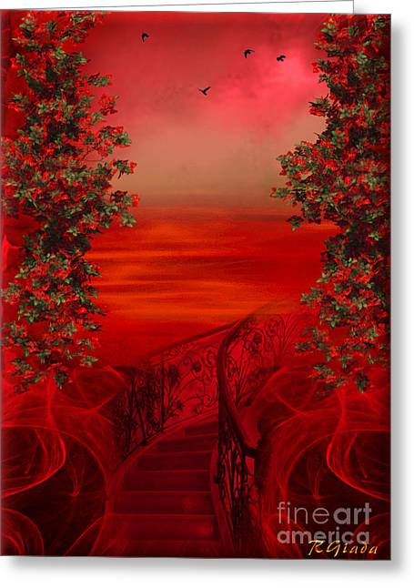 Garden Scene Digital Greeting Cards - Lost in red - surreal art by Giada Rossi Greeting Card by Giada Rossi