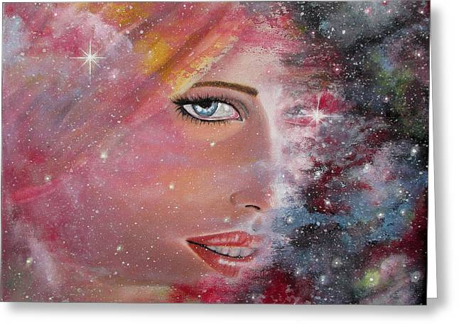 Outer Space Paintings Greeting Cards - Lost in Space Greeting Card by Marina Gerges