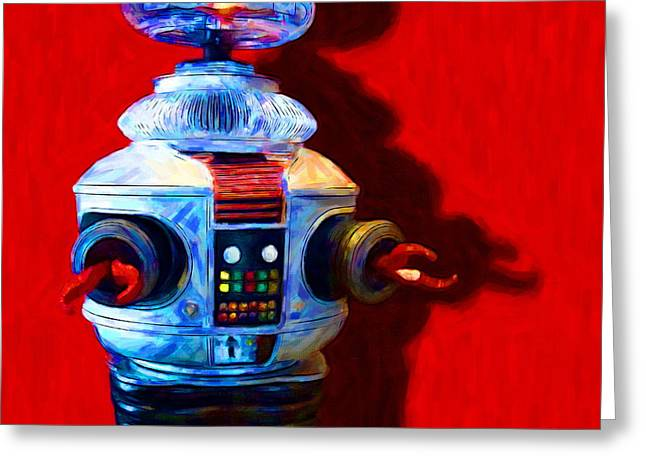 Robotics Greeting Cards - Lost In Space Robot - 20130117 - square Greeting Card by Wingsdomain Art and Photography