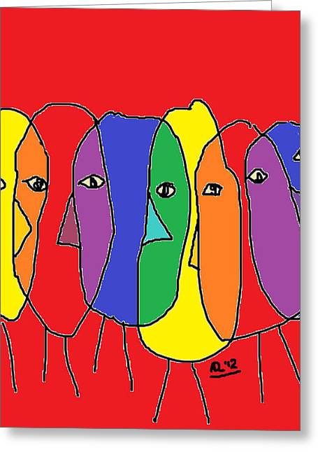 Lost In The Crowd Color Version Greeting Card by Anita Dale Livaditis