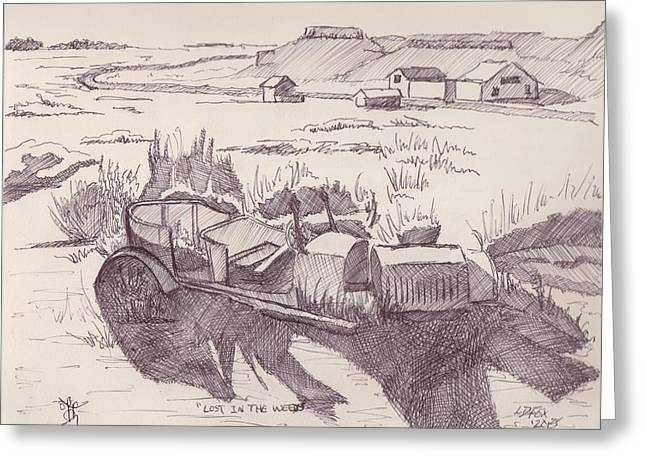 Ford Model T Car Drawings Greeting Cards - Lost In The Weeds Greeting Card by Larry Fox