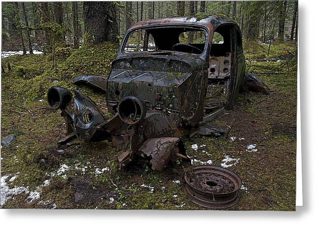 Rusted Cars Greeting Cards - Lost in the Woods Greeting Card by Cathy Mahnke