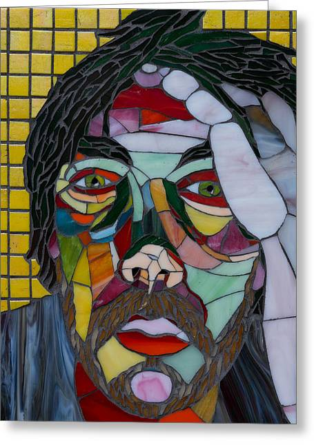 Male Glass Art Greeting Cards - Lost in Thought Greeting Card by Gila Rayberg