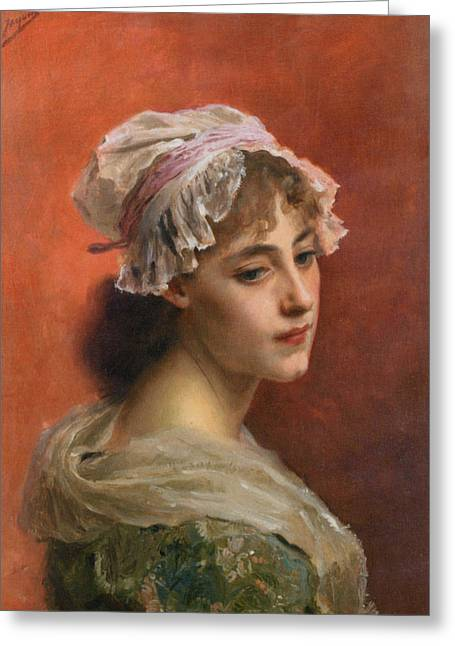 Young Lady Greeting Cards - Lost In Thought Greeting Card by Gustave Jean Jacquet