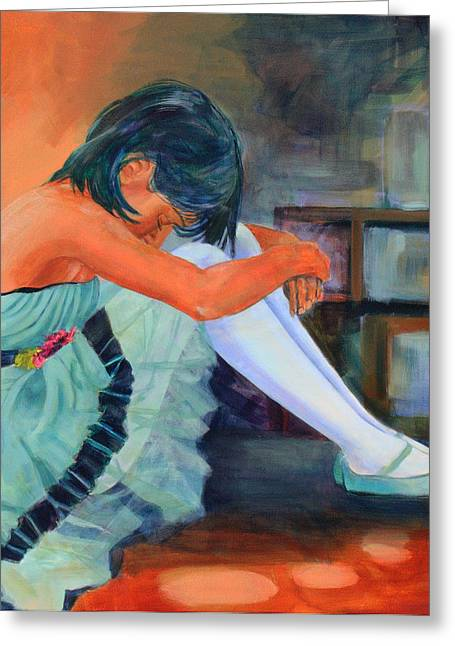 Dancers Rehearsing Greeting Cards - Lost in Thought Greeting Card by Sue  Darius