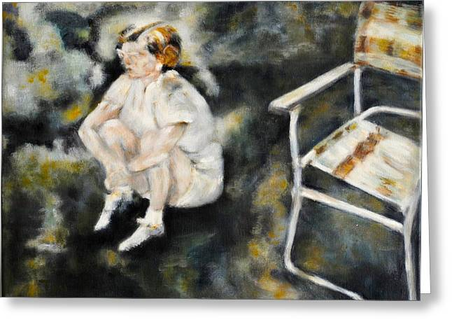 Sneakers Paintings Greeting Cards - Lost in thought Greeting Card by Timi Johnson
