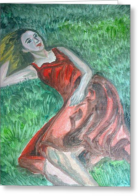 Lost In Thought Paintings Greeting Cards - Lost In thoughts Greeting Card by Sayani Chatterjee