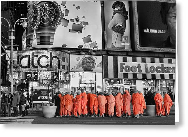 Tibetan Buddhism Greeting Cards - Lost in Times Square Greeting Card by Lee Dos Santos