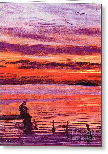 Contemplation Paintings Greeting Cards - Lost in Wonder Greeting Card by Jane Small