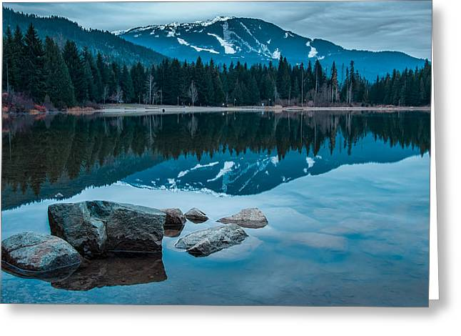 Mountain Reflection Lake Summit Mirror Greeting Cards - Lost Lake Greeting Card by James Wheeler
