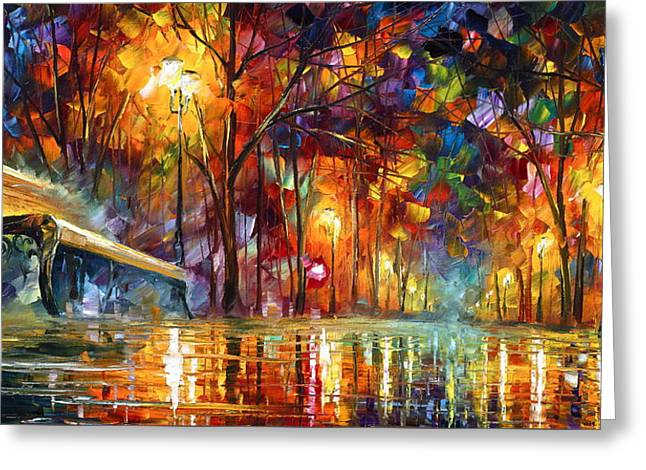 Park Benches Paintings Greeting Cards - Lost Love Greeting Card by Leonid Afremov