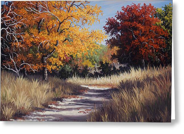 Autumn Landscape Paintings Greeting Cards - Lost Maples Trail Greeting Card by Kyle Wood