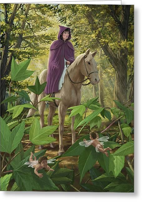 Lost Princess Greeting Cards - Lost Princess On Horseback Greeting Card by Martin Davey