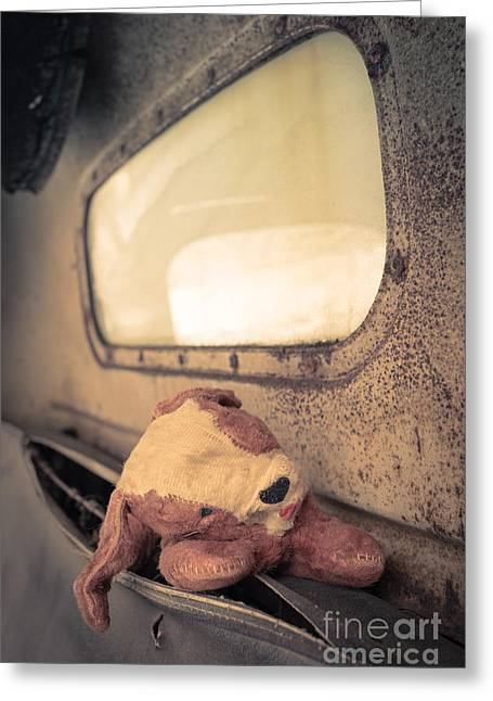 Rusty Pickup Truck Greeting Cards - Lost Puppy Greeting Card by Edward Fielding