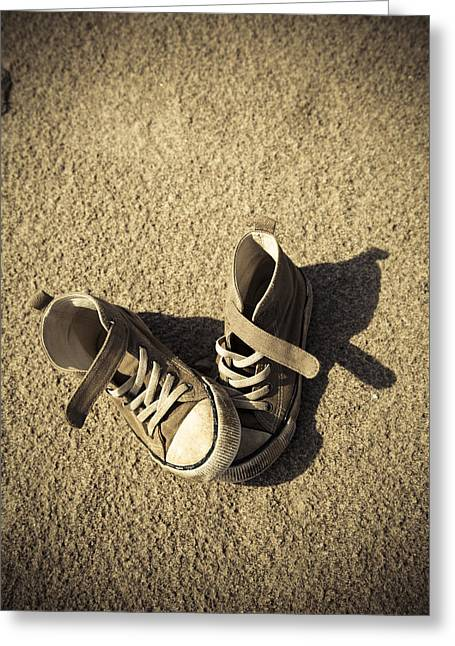 Missing Child Photographs Greeting Cards - Lost shoes Greeting Card by Maria Heyens