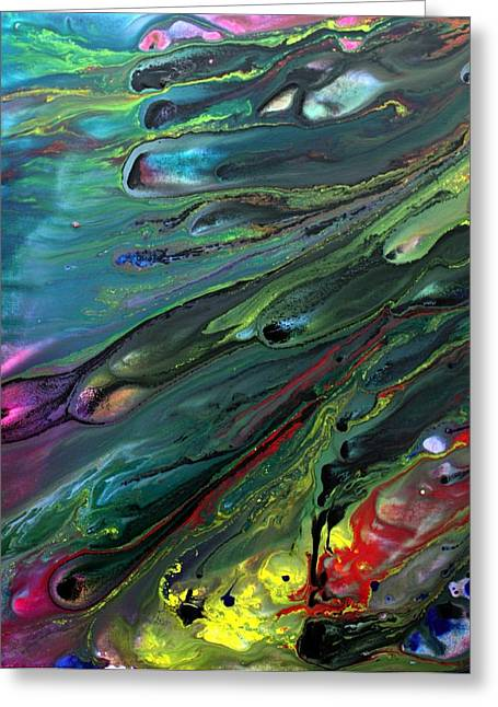 Acrylic Pour Greeting Cards - Lost World 1 Greeting Card by Laura Barbosa