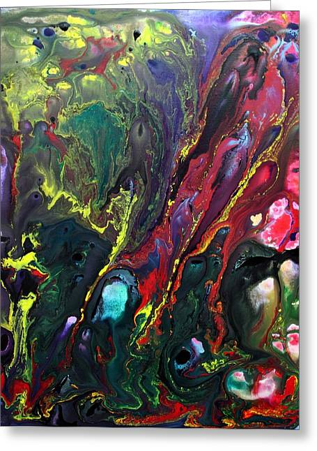 Acrylic Pour Greeting Cards - Lost World 3 Greeting Card by Laura Barbosa
