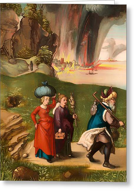 Religious Artwork Paintings Greeting Cards - Lot and His Daughters Greeting Card by Albrecht Durer