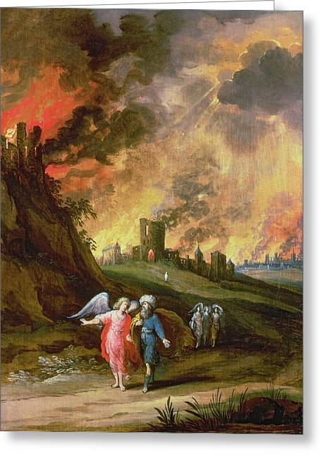 Destruction Greeting Cards - Lot And His Daughters Leaving Sodom Greeting Card by Louis de Caullery