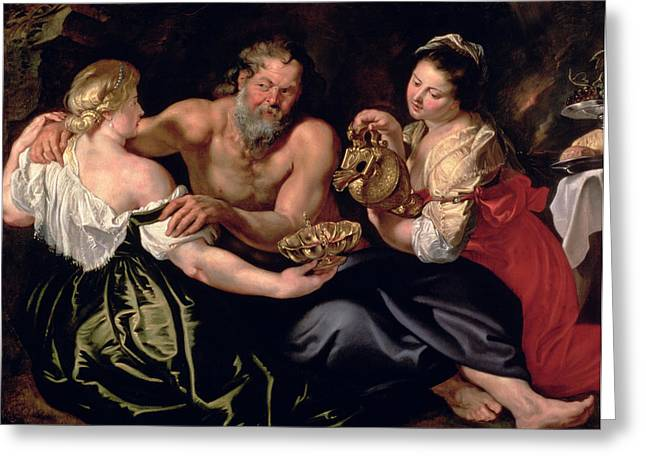 Ewer Paintings Greeting Cards - Lot and his daughters Greeting Card by Rubens