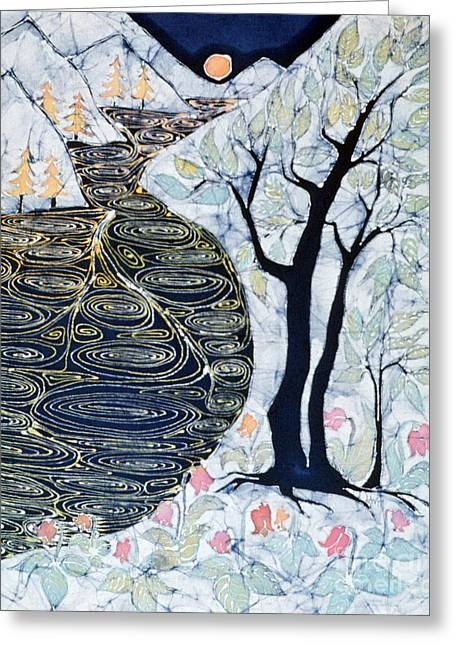 Stream Tapestries - Textiles Greeting Cards - Lothlorien  Greeting Card by Carol Law Conklin