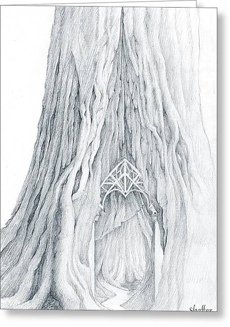 Fantasy Tree Mixed Media Greeting Cards - Lothlorien Mallorn Tree Greeting Card by Curtiss Shaffer