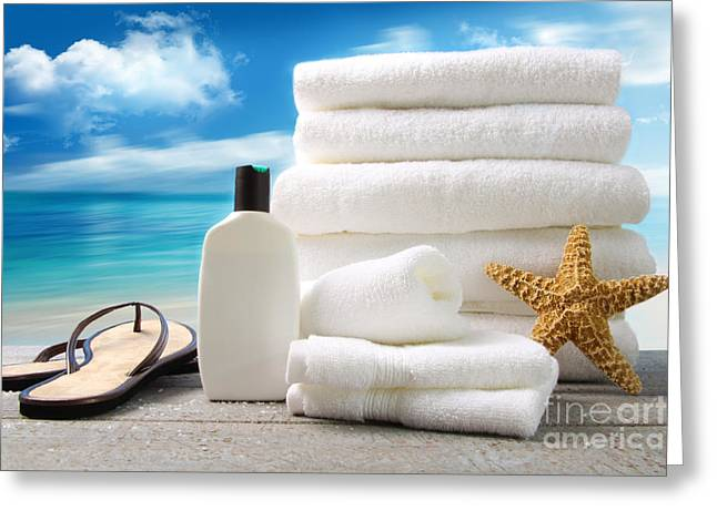 Therapy Greeting Cards - Lotion  towels and sandals with ocean scene Greeting Card by Sandra Cunningham