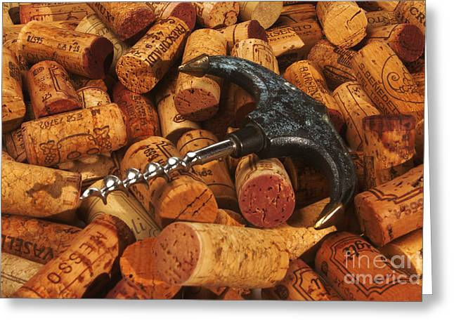 Pinot Noir Greeting Cards - Lots of corks and a cork screw Greeting Card by Stefano Senise