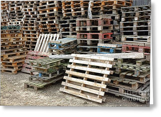 Waiting Greeting Cards - Lots of Pallets Greeting Card by Olivier Le Queinec