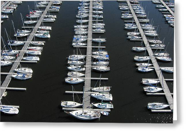 Aerial Greeting Cards - Lots of Yachts Greeting Card by Rob Huntley