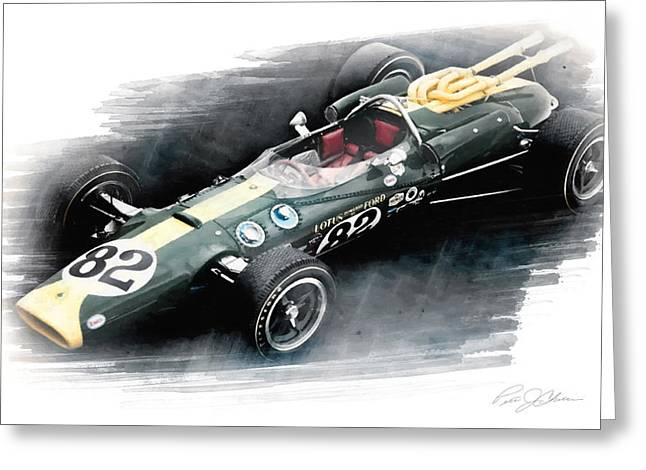 Vintage Auto Greeting Cards - Lotus 38 Greeting Card by Peter Chilelli