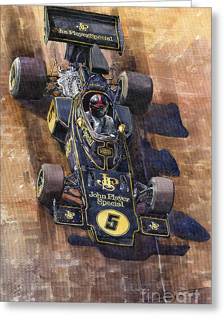 Auto Racing Greeting Cards - Lotus 72 Canadian GP 1972 Emerson Fittipaldi  Greeting Card by Yuriy  Shevchuk