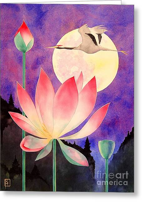 Original Watercolor Greeting Cards - Lotus And Crane Greeting Card by Robert Hooper