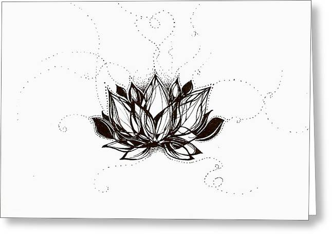 Andrea Carroll Greeting Cards - Lotus Greeting Card by Andrea Carroll