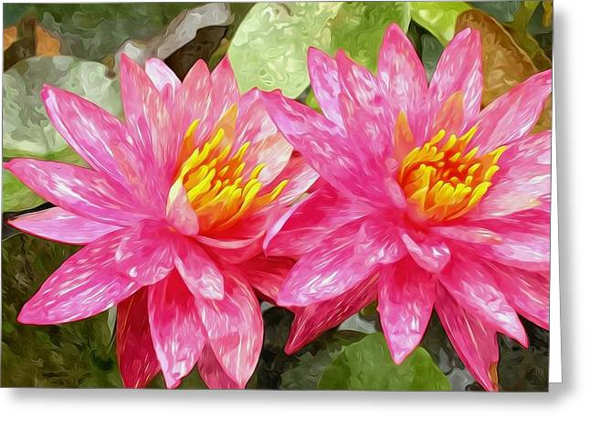 Lotus Full Bloom Greeting Cards - Lotus Blossom  Greeting Card by Lanjee Chee