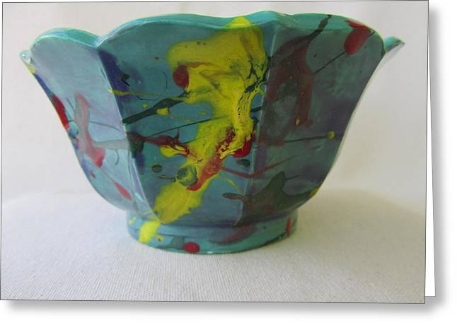 Green Color Ceramics Greeting Cards - Lotus Bowl Plant Pot Ceramic Greeting Card by Jay Kyle Petersen